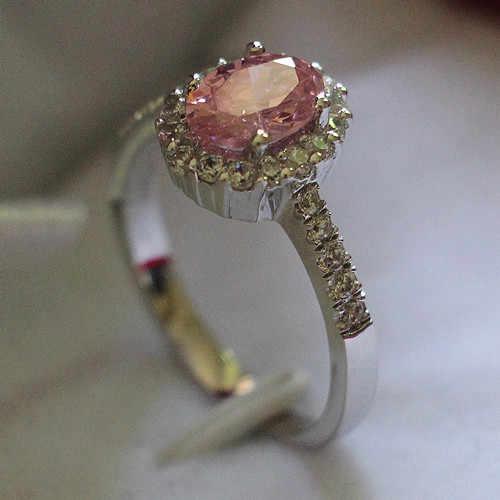 2 C Aratของแข็ง750ทองสีชมพูทรงรีก็ดีสังเคราะห์เพชรแหวนครบรอบผู้หญิงที่ดีที่สุดแหวนหินกึ่งมีค่าสำหรับสาว