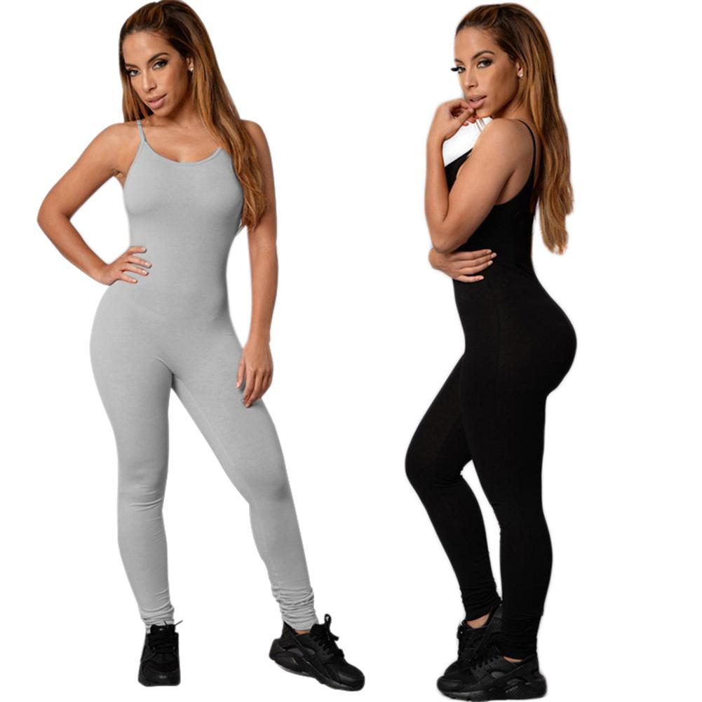 Womens One Piece Solid Color Halter Yoga Tight Workout Jumpsuits Rompers