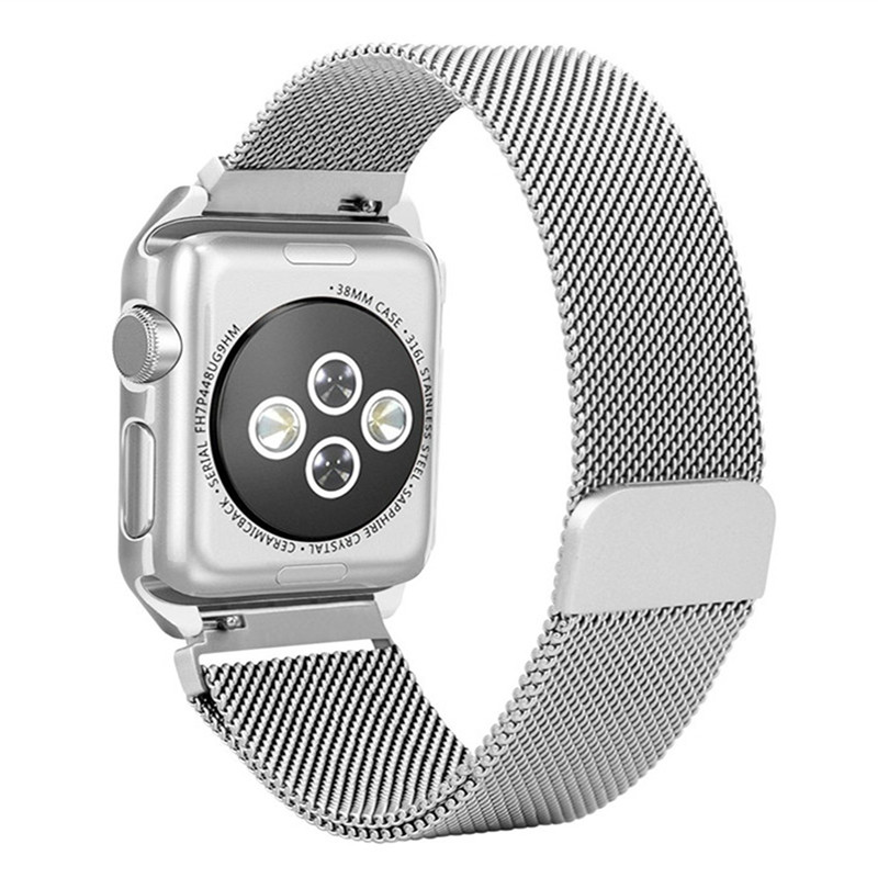 GOOSUU-Milanese Loop Strap Stainless Steel band For Apple Watch band 42 mm/38 wristband Link Bracelet for iwatch 1 2 with case kopeck milanese loop strap for apple watch band 42mm 38mm mesh stainless steel bracelet strap for iwatch serie 1 2 3 wrist band