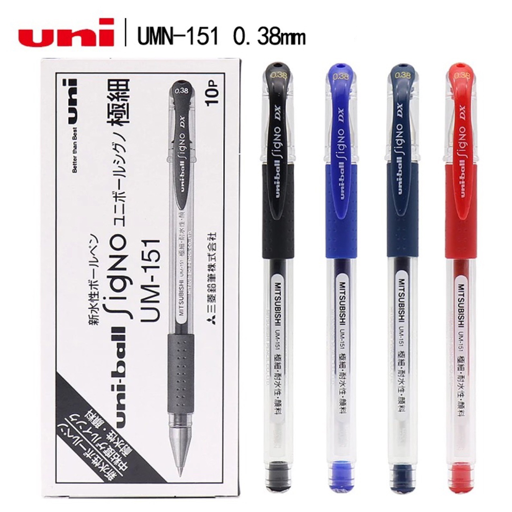 Unipin 10pcs/Lot Gel Pens Set 0.38mm Fine Point Writing Black Blue Red Ink Pen Gel Uniball Stylo Signo Dx UM151 Office Supplies
