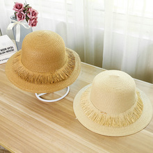 Female Hot Sale Round Top Wide Brim Straw Hats Summer Sun for Women and Men With Leisure Beach Flat Tassels Caps