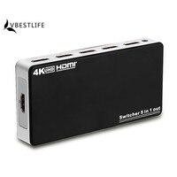 Ultra HD 4K X 2K 3D 1080p HD 1 4 HDMI Splitter 5 Port Hub Box