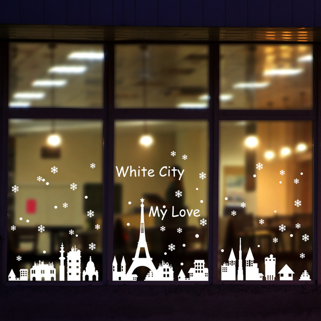 Shijuehezi christmas window sticker white snow city wall decals diy festival stickers for shop