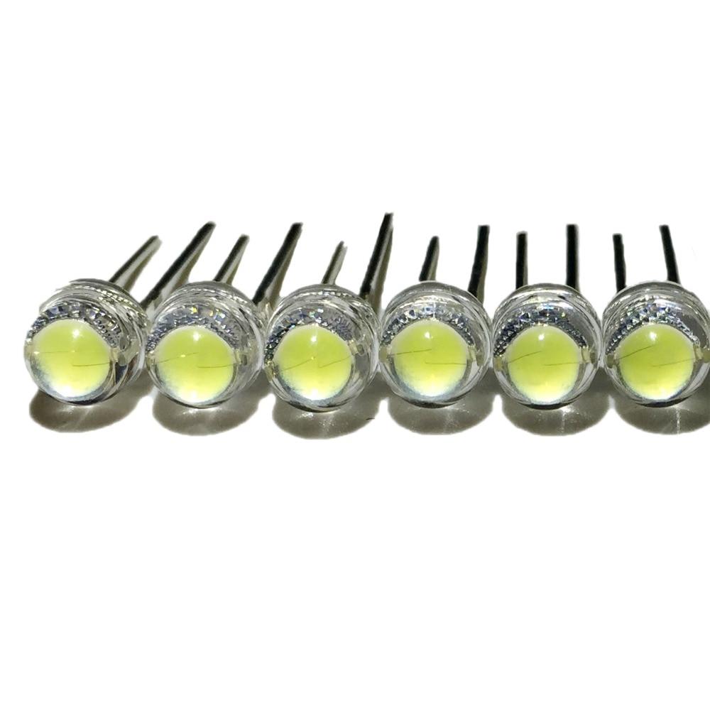 50pcs/lot White 5mm F5 Straw Hat LED Lamp Beads Super Bright 6-7LM Big Core Chip Light Emitting Diodes (leds) For DIY Lights
