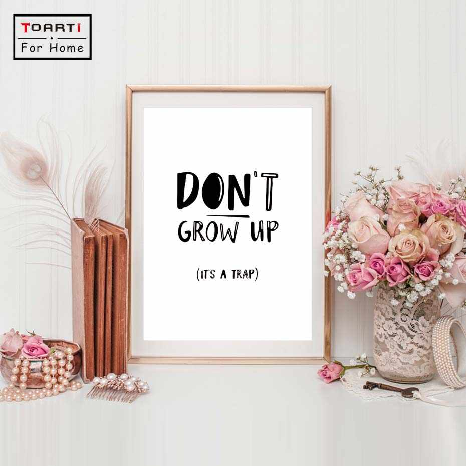 Don't Grow Up Cartoon Canvas Paintings Nursery Posters and Prints Nordic Wall Art Pictures for Kids Bedroom Home Decor No Frame