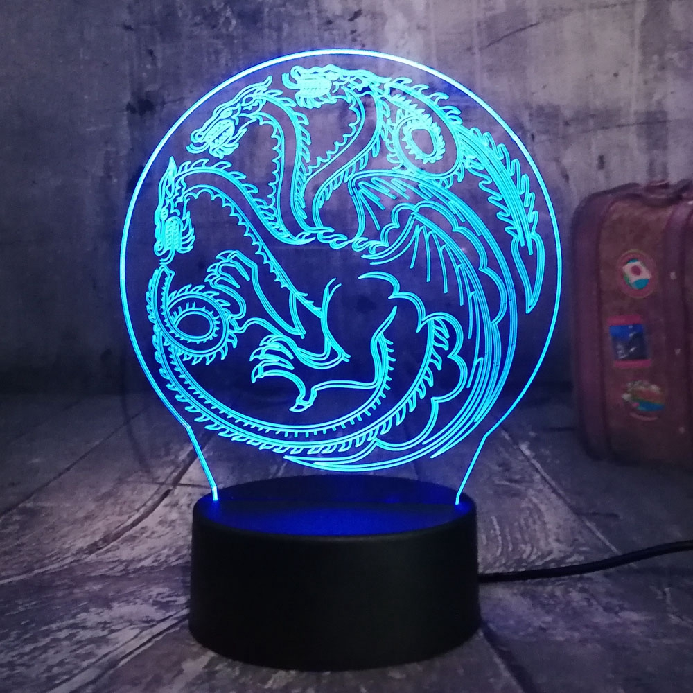 Game of Thrones Lamp A Song of Ice and Fire House of Targaryen 3D RGB LED Night Light USB Table Lamp Home Decor Christmas GiftGame of Thrones Lamp A Song of Ice and Fire House of Targaryen 3D RGB LED Night Light USB Table Lamp Home Decor Christmas Gift