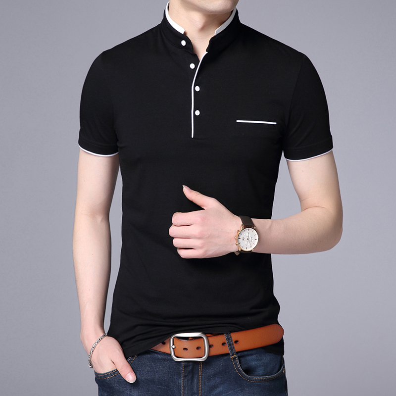 Summer Men Solid   Polo   Shirt Short Sleeve Black White Collar   Polo   Shirt Cotton Breathable Slim Fit Retro Casual Male Clothing