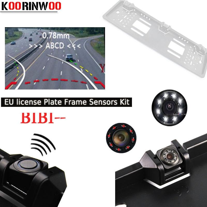 Koorinwoo 2019 EU European Dynamic Trajectory License Plate Frame Parktronic Car Rear View Camera 2 Probe