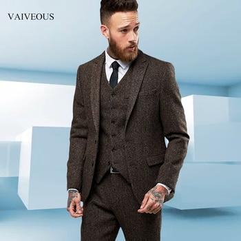 Custom Made tweed Wool Brown Herringbone men suit British style Modern Blazer 3 Pieces Skinny Men Suits (Jacket+Pants+vest) 2018