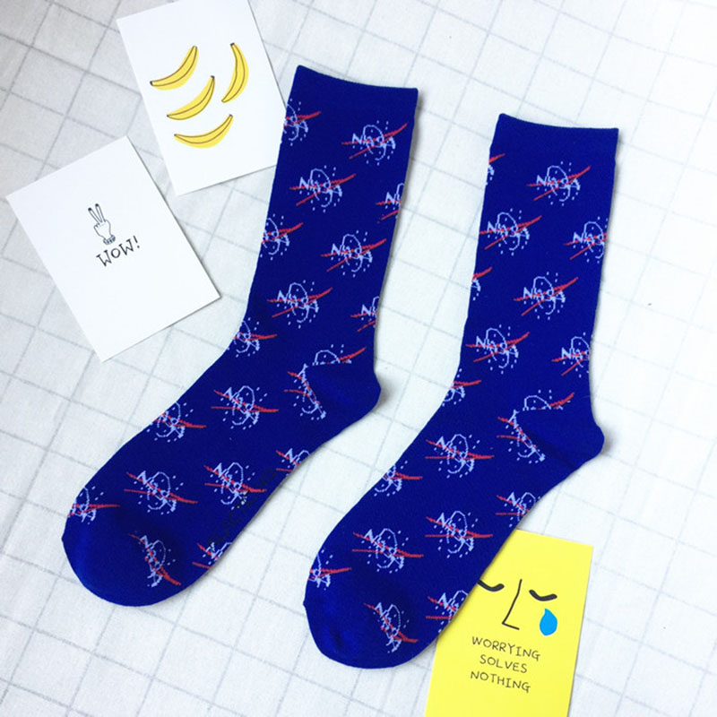 Bamboo High Quality Mens Happy Socks Space Pattern Printed Casual Crew Cartoon Socks Men Personality Sweat And Deodor Hombre