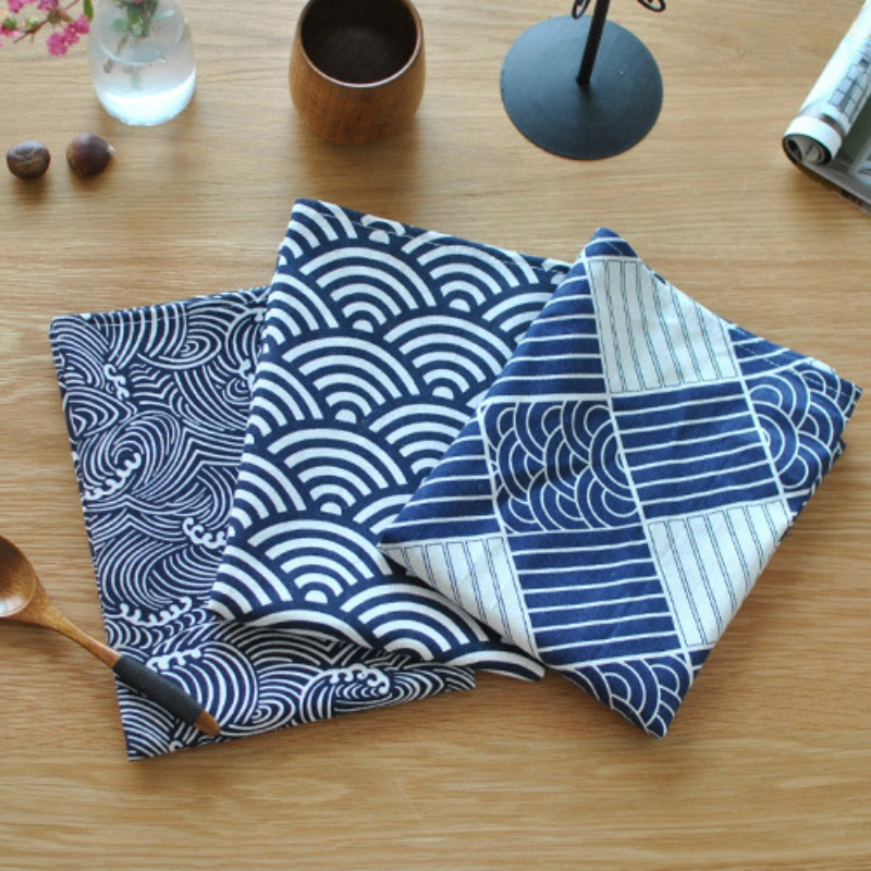 40*70cm Sector Plaid Sea Waves Japanese Style Mat Napkin Dessert Table Napkins Tea Towels Kitchen Dishcloth Placemats