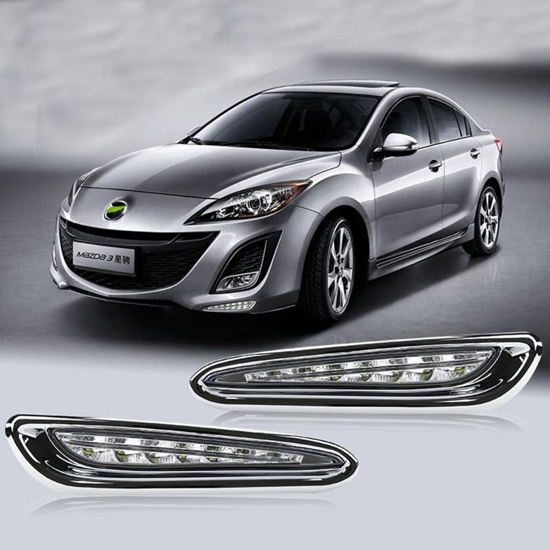 2 pièces 12 V voiture DRL lampe LED diurne lumière du jour pour Mazda 3 2013 2012 2011 2010 jaune clignotant fonction brouillard lampe