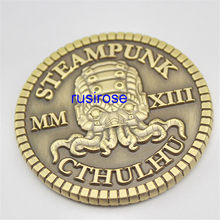 Personalizado antigo polvo crânio 3d estereoscópico moedas de metal comemorativas, lote de personalização moedas duplas, moedas de latão personalizadas
