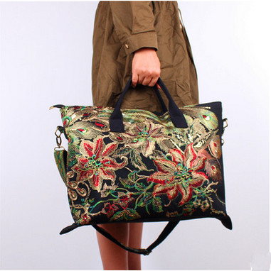 New Floral embroidery Women bag!Hot National Multi-use Casual Tote Top All-match One-shoulder bags lady travel shopping handbags