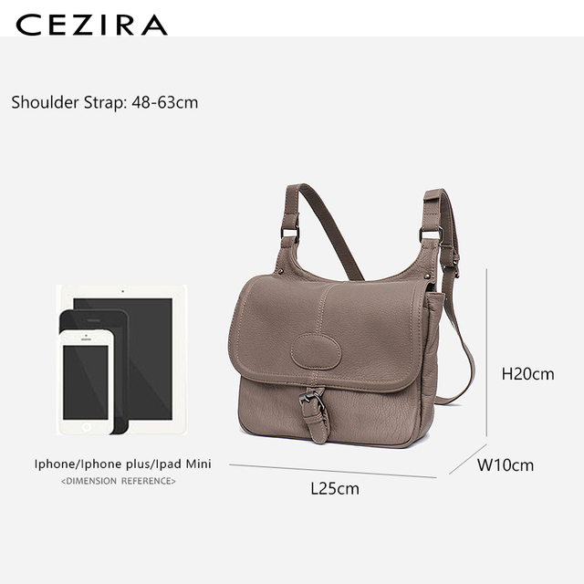 CEZIRA Fashion Shoulder Bags for Women Small Vegan Wash Leather Flap Bag Girl Flap Cover Buckle Casual Messenger Bag Lady Bags 5