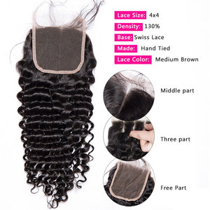 Image 3 - Malaysian Deep Wave Curly Bundles With Closure Human Hair Extensions Malaysian Curly Human Hair 3 Bundles With Closure
