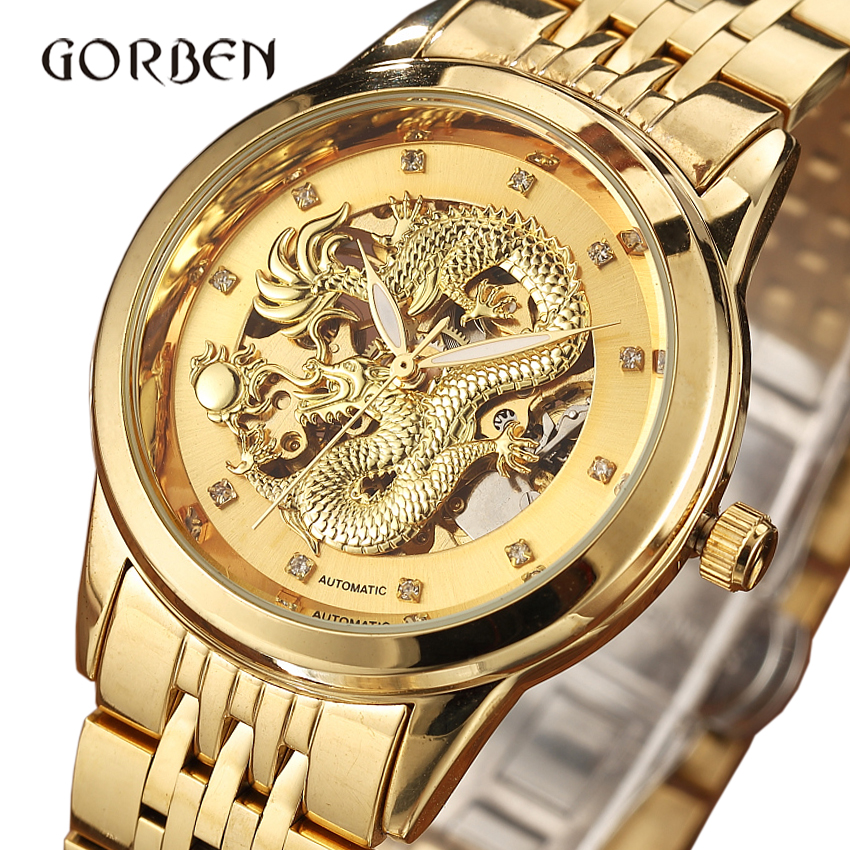 Dragon Skeleton Automatic Mechanical Watches For Men Watch Gift Box Luxury Gold Steel Self Wind Clock relogios masculino fashion men mechanical hand wind watches men skeleton stainless steel wristwatches for male luxury golden watch men