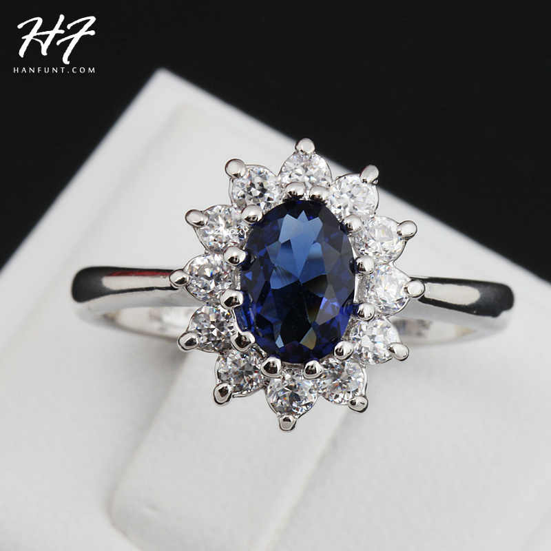Blue Crystal Silver Color Ring Jewelry Made with Genuine SWA ELEMENTS From Austria 5 Multi Sizes HotSale R076