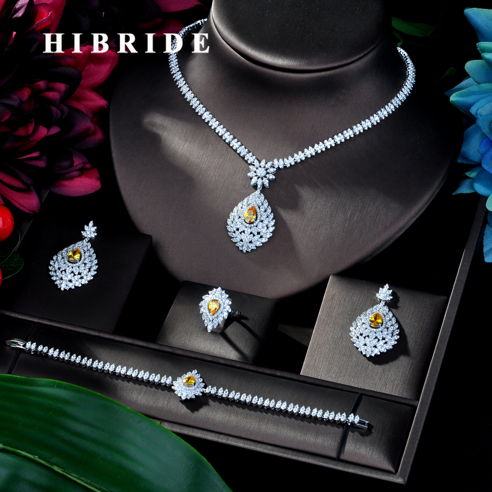 HIBRIDE Clear Crystal Cubic Zirconia Jewelry Sets for Women Bridal Wedding Sets 4 Pcs Earring Necklace