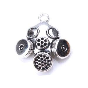 Image 3 - 5 قطعة/الوحدة 33x28 مللي متر قناع الغاز السحر العتيقة الفضة اللون ل أساور ذاتية الصنع المجوهرات الاكسسوارات قلادة قلادة النتائج صنع