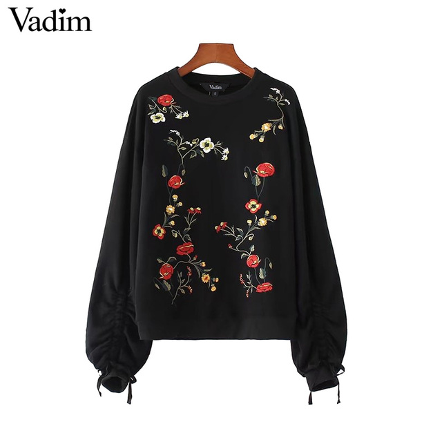 Vadim vintage floral embroidery sweatshirts knitted bow tie pleated long lantern sleeve pullover retro black casual tops SW1246