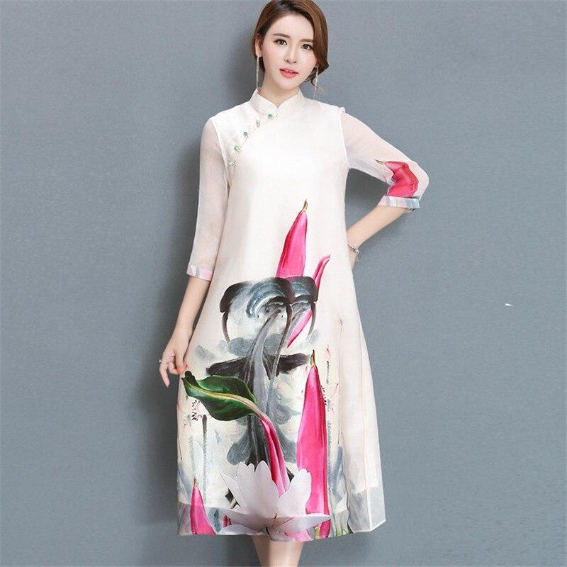 2018 New Spring and Summer Women's Silk Dress Plus size Loose Printed Dress Fashion Female Long Silkworm silk Dress IOQRCJV Q144