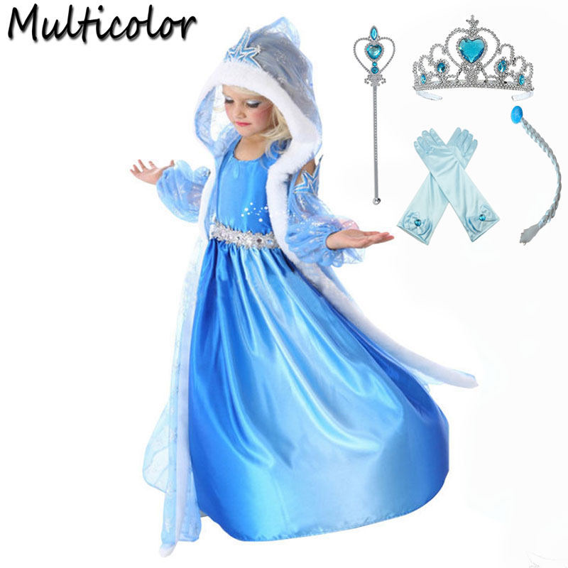 2018 Hot Elsa Anna Set Girls Princess Children Dress Cloth Party Vestidos Infants Sweater Sleeves Dress Baby Kids Custom Dresses цена 2017