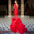 Elegant Lace Prom Dresses Mermaid Red Sexy Backless 2016 Long Sleeve Party Evening Formal Occasion Gowns Fast Shipping Robe Bal