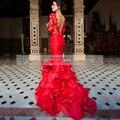Elegante Encaje Vestidos de Baile Sirena Rojo Backless Atractivo 2016 vestidos de Fiesta de Manga Larga Noche Vestidos Para Ocasiones Formales Envío Rápido Robe Bal
