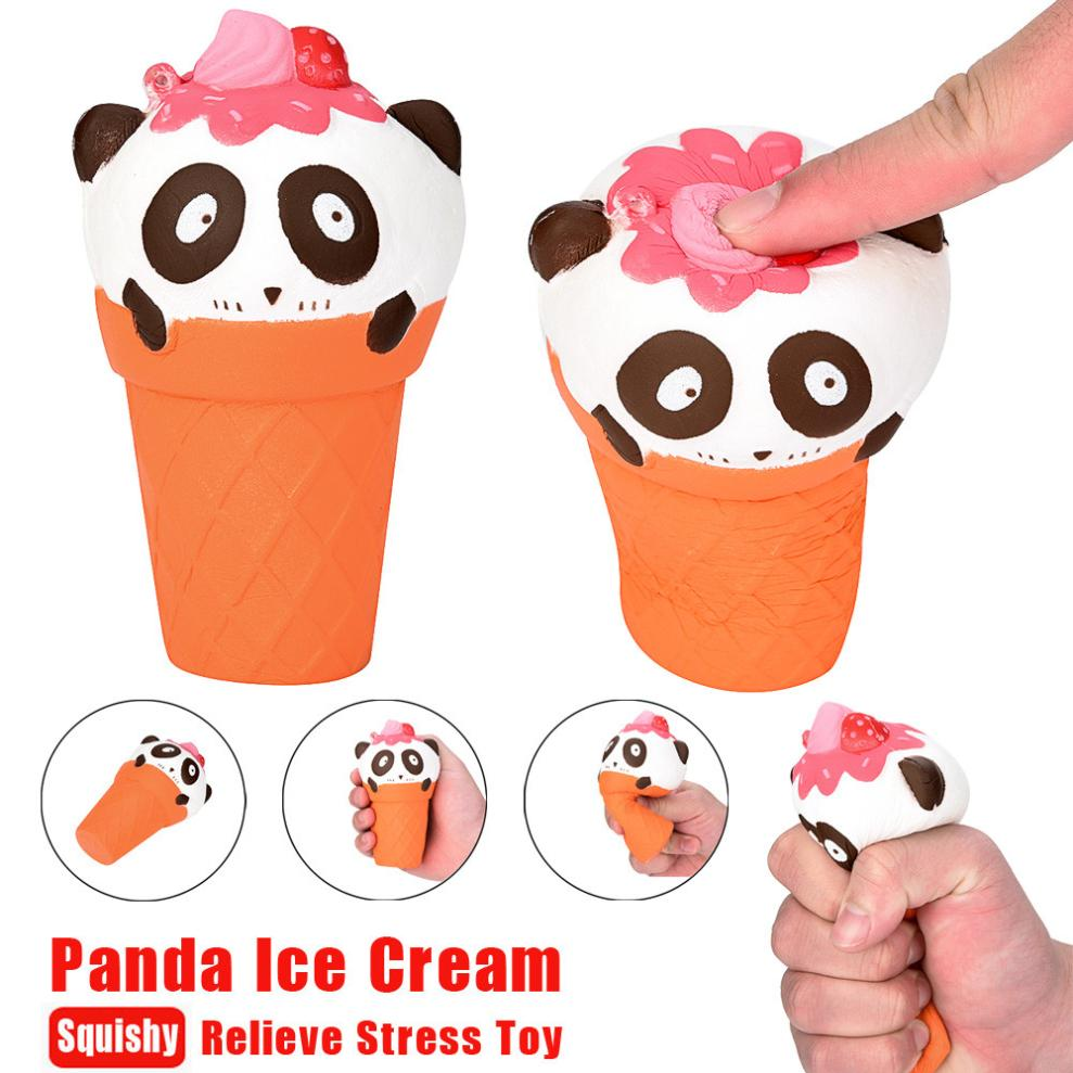 12cm Panda Adorable Funny Squishies 12cm Cartoon Panda Ice Cream Squishy Slow Rising Squeeze Stress Reliever Charm Toy