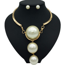 Dubai Gold Pearl Wedding Jewelry Sets African Bridal Necklace Earrings Exaggerated Style Women Fashion Accessories