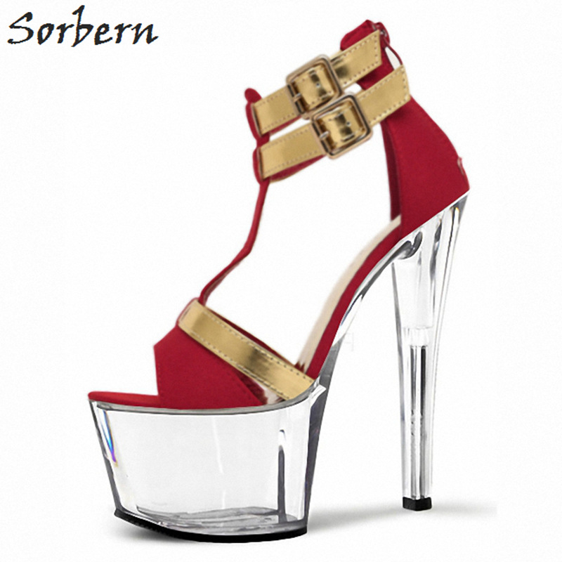 Sorbern Sexy Red T-Straps Women Sandals High Heels Open Toe Summer Shoes Ladies Sandalia Feminina Clear Shoes Sandalia Feminina royal blue women sandals hollow out thick heels open toe platform shoes woman sapato feminino sandalia feminina size 14 heels