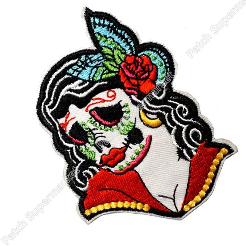 Biker Vest Patches >> Sugar Skull Calavera Woman Mexican Day of the Dead Muertos tattoo Biker Vest Punk Rock applique ...
