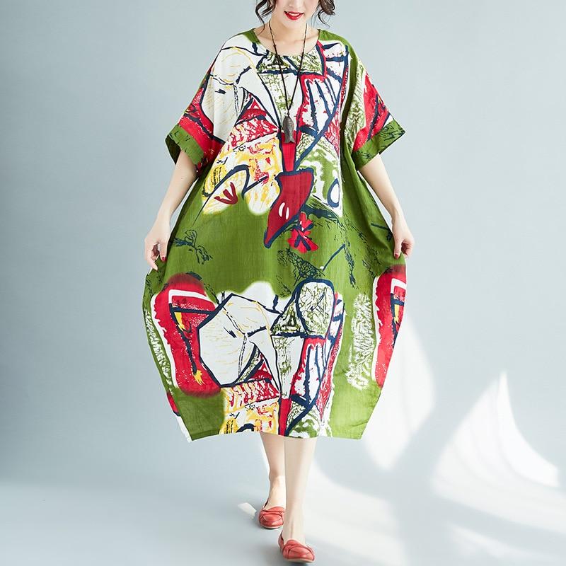 Literature Mori Girls Women Bigsize Loose Casual Drsses Batwing Sleeve Multicolor Printed Summer Dresses Vestidos Mujer 2018 New