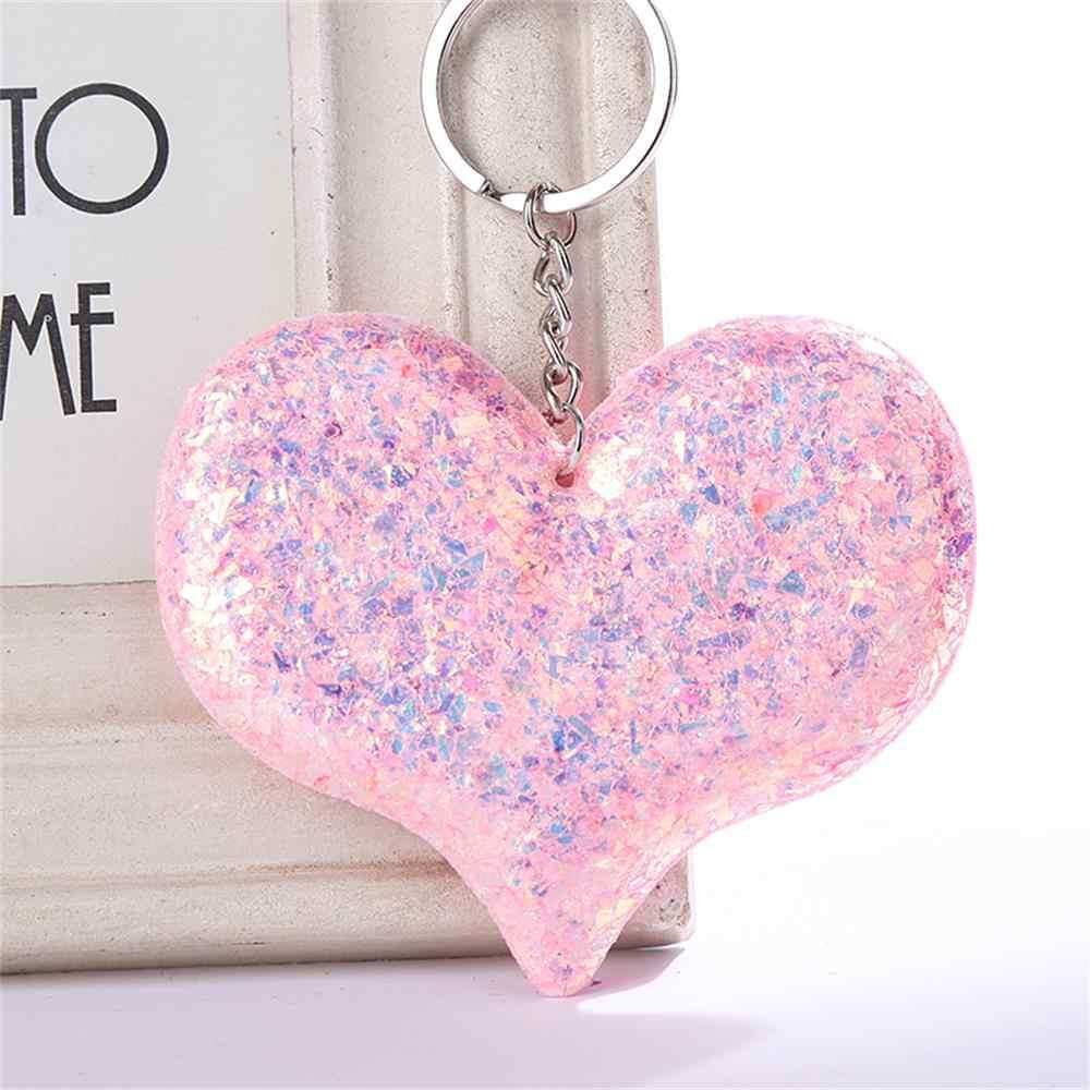 Nova Lantejoulas Amor Keychain Brilhante Reflexivo Dos Desenhos Animados Casal Chaveiro Personalidade Acessórios de Jóias Pingente de Coração-em forma de Chaves Do Carro