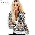 GZDL Мода Осень Зима Leopard Куртка Женщин Куртки Пальто Тонкий С Длинным Рукавом One Button Дамы Пальто Верхняя Одежда CL2172
