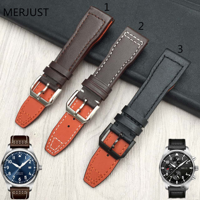 the best attitude de295 7c2cf Men's Calf Leather Watch Band for IWC Pilot Mark XVIII IW327004 IW377714  Watch Strap 21mm Brown Belt Bracelet Bands for Man