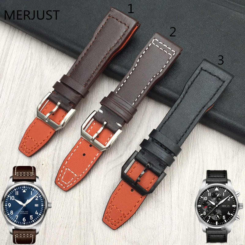 Men's Calf Leather Watch Band for IWC Pilot Mark XVIII IW327004 IW377714 Watch Strap 21mm Brown Belt Bracelet Bands for Man