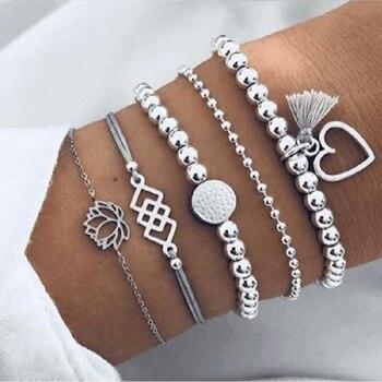 30 Style Boho Bangle Elephant Heart Shell Star Moon Bow Map Crystal Bead Bracelet 4