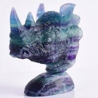 Современный натуральный камень флюорит экзотическая голова носорога череп орнамент животные, статуэтки ремесла для дома фэншуй художеств