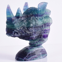 Modern natural stone fluorite Exotic Rhinoceros Head skull Ornament Animal Statues Crafts for Home fengshui Art Decoration Gift