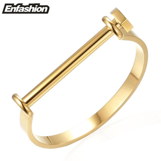 Enfashion Shackle U Cuff Bracelet Noeud armband Gold Plated Screw Bangle Bracelet For Women Bracelets Manchette Bangles