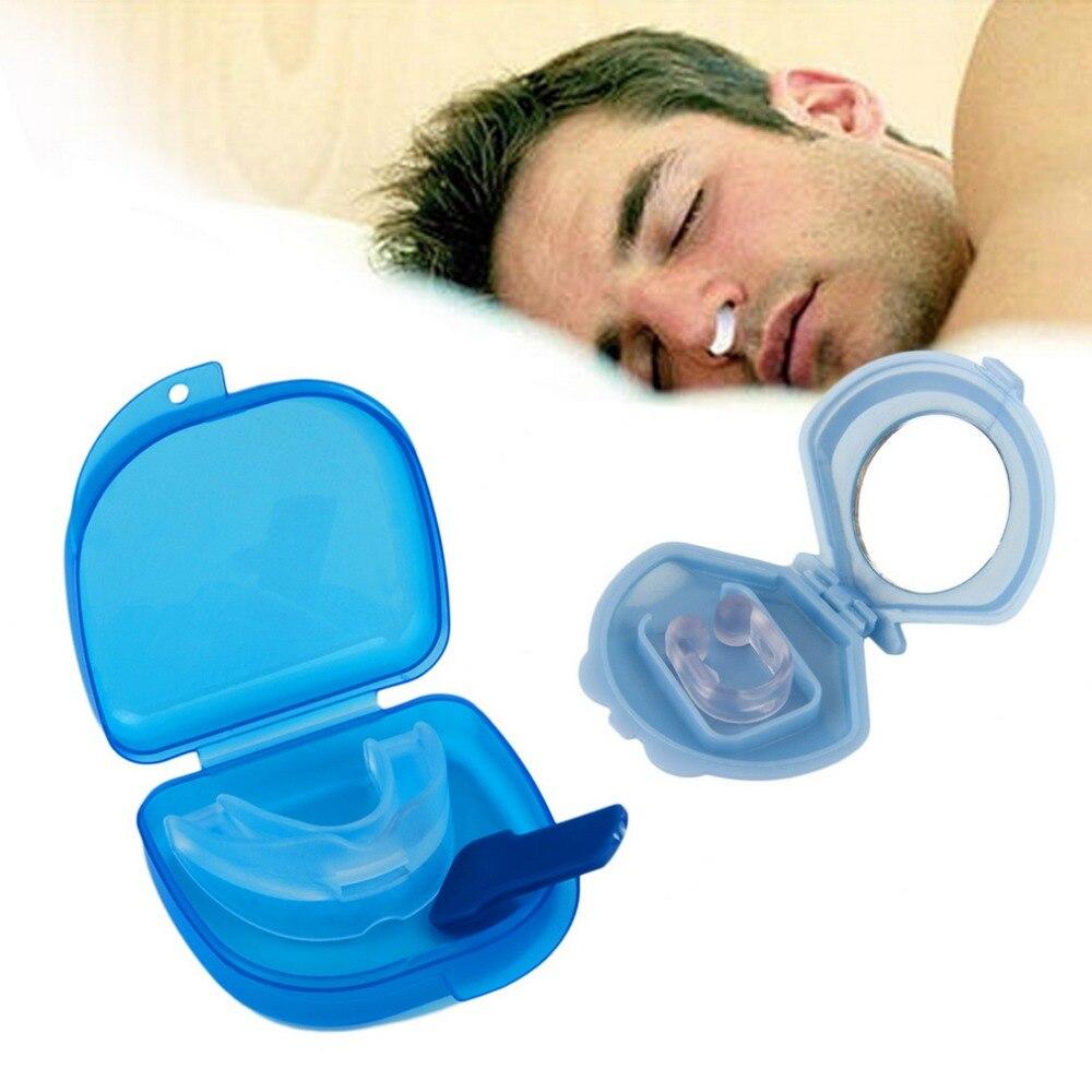 Silicone Dental Anti Snoring Snore Stopper Anti Snore Mouthpiece Tray Stopper Sleep Aid Apnea Mouthguard Nose Clip Health Care