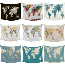 Buy world map fabric and get free shipping on aliexpress hd world map tapestry high definition map fabric wall hanging decor watercolor map polyester table gumiabroncs Images