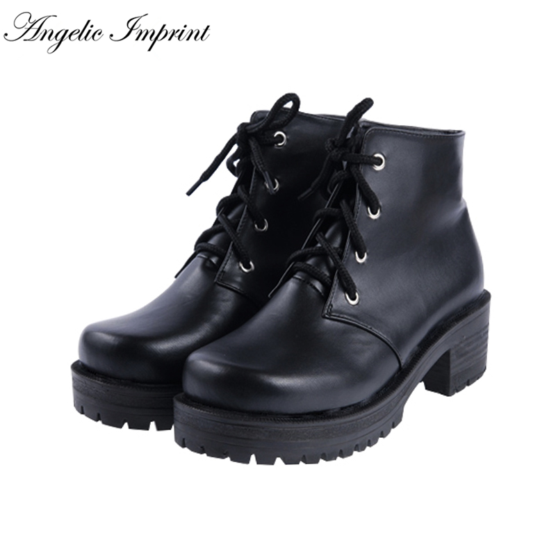 все цены на Women's Lace-up PU Leather Ankle Boots Punk Lolita Medium Heels Round Toe Martin Boots
