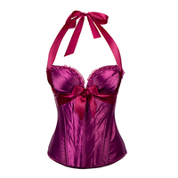 2017 Sexy Women Lace up Halter Corset Bustier Lingerie Overbust Zip Front 4 Colors S-XXL Satin Fancy Corsets With bowknot