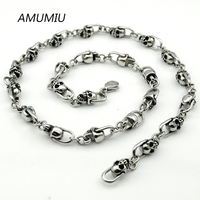 AMUMIU new arrival stainless steel in silver color fashion necklace head skull jewelry 2017 for men,cool,rock HZP103