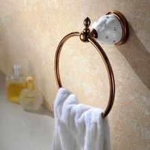 Аксессуары для ванной комнаты Европейский стиль роскошные позолоченные + Кристалл Вешалка Для Полотенец Кольцо Полотенца