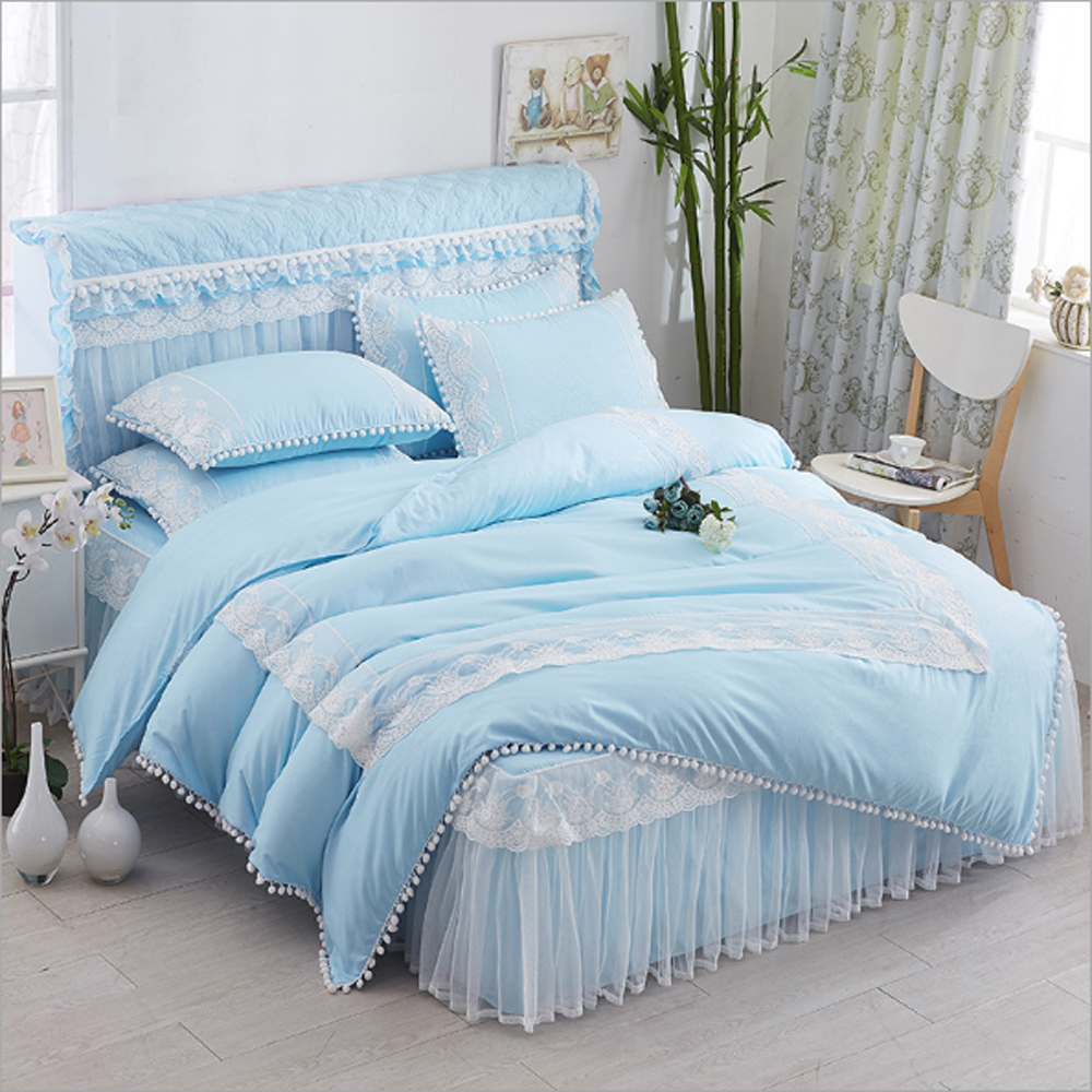 Green and blue and purple bedding - Korean Princess Style Lace Ruffled Ball Design Duvet Cover Bed Sheet Set Blue Green Purple Gray Pink Solid Color Bedding Set