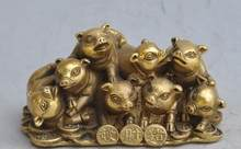 S05952 Chinese bronze brass zodiac pigs animal wealth money lucky Auspicious statue(China)
